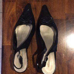 Predictions Size 12 Black Suede Slingbacks